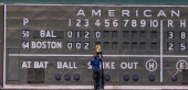 A detailed view of the left field Green Monster wall at JetBlue Park at Fenway South during the game between the Baltimore Orioles and the Boston Red...