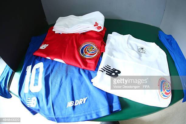 A detailed view of the locker room stall of Jonathan Martinez of Costa Rica is seen prior to the France v Costa Rica Round of 16 FIFA U17 World Cup...