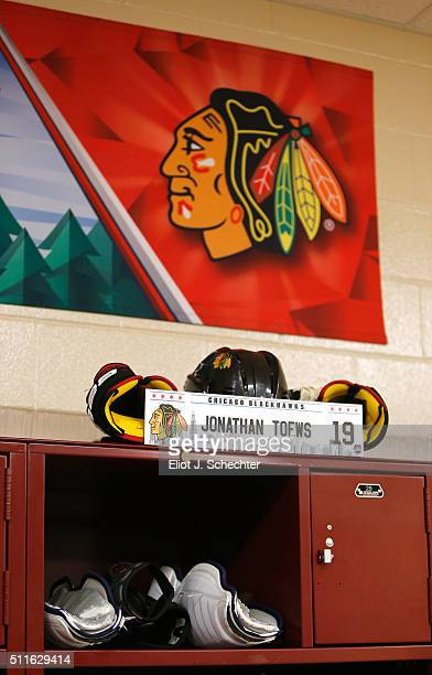 A detailed view of the locker room stall of Jonathan Toews of the Chicago Blackhawks is seen prior to the 2016 Coors Light Stadium Series game...