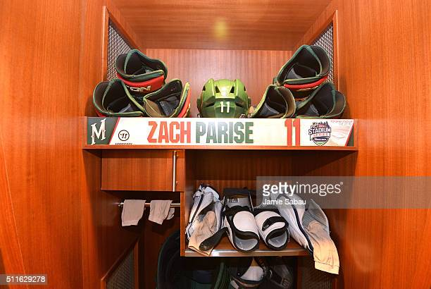A detailed view of the locker room stall of Zach Parise of the Minnesota Wild is seen prior to the 2016 Coors Light Stadium Series game between the...