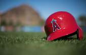 A detailed view of the Los Angeles Angels of Anaheim helmet during spring training on February 29 2016 at Tempe Diablo Stadium in Tempe Arizona