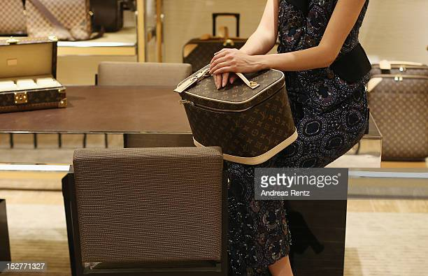 A detailed view of the Louis Vuitton shop is pictured during the grand opening of 'The New Luxury Beauty The Loft' at KaDeWe department store on...