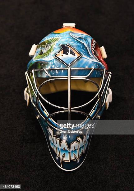A detailed view of the mask of goaltender Alex Stalock of the San Jose Sharks is seen in the locker room prior to the 2015 Coors Light NHL Stadium...