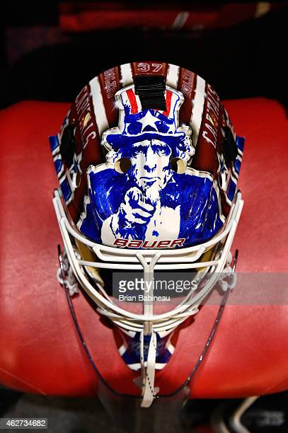A detailed view of the mask of goaltender Braden Holtby of the Washington Capitals during the 2015 Bridgestone NHL Winter Classic Build Out on...