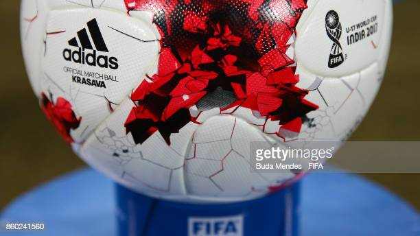 A detailed view of the match ball ahead the FIFA U17 World Cup India 2017 group F match between Iraq and Chile at Vivekananda Yuba Bharati Krirangan...
