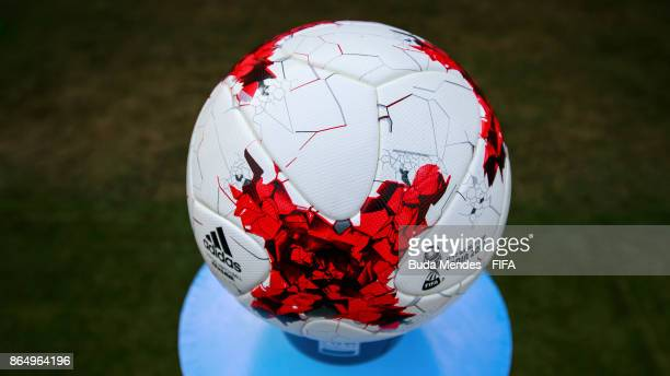 A detailed view of the match ball ahead the FIFA U17 World Cup India 2017 Quarter Final match between Germany and Brazil at Vivekananda Yuba Bharati...