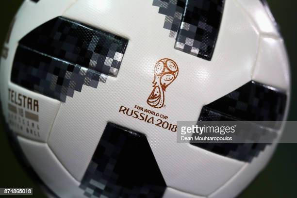 A detailed view of the match ball from the World Cup in Russia 2018 during the international friendly match between Belgium and Japan held at Jan...