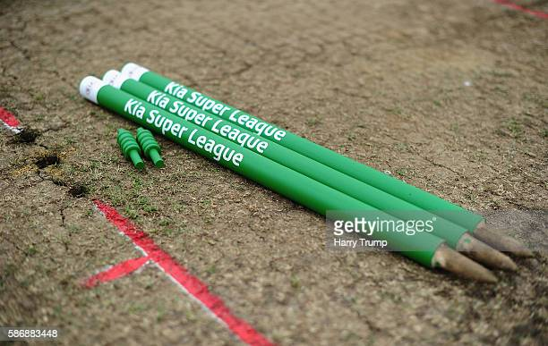 Detailed view of the match day stumps during the Womens Kia Super League match between Western Storm and Surrey Stars at the Brightside Ground on...