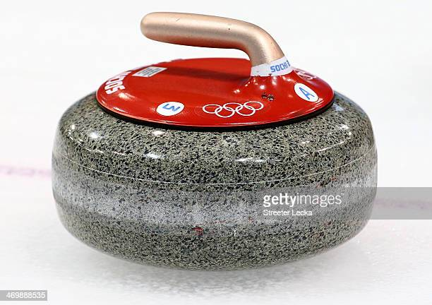 A detailed view of the Men's Curling Round Robin on day ten of the Sochi 2014 Winter Olympics at Ice Cube Curling Center on February 17 2014 in Sochi...