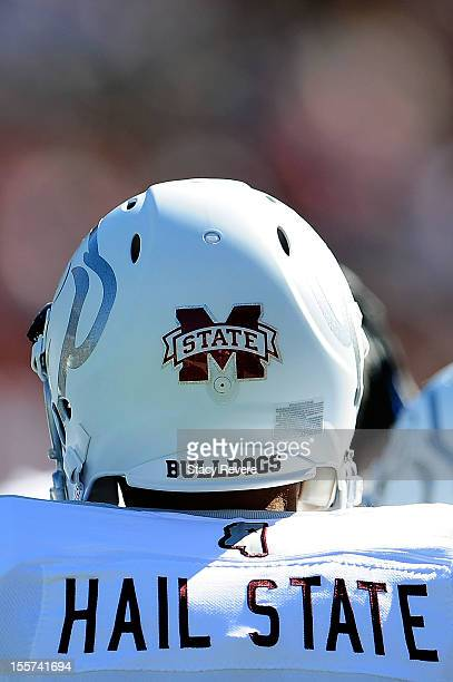 Detailed view of the Mississippi State Bulldogs commemorative uniforms worn during a game against the Texas AM Aggies at Wade Davis Stadium on...