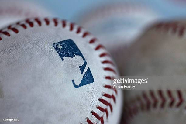 A detailed view of the MLB Logo on a baseball before the game between the Toronto Blue Jays and Los Angeles Angels of Anaheim on July 9 2014 at Angel...