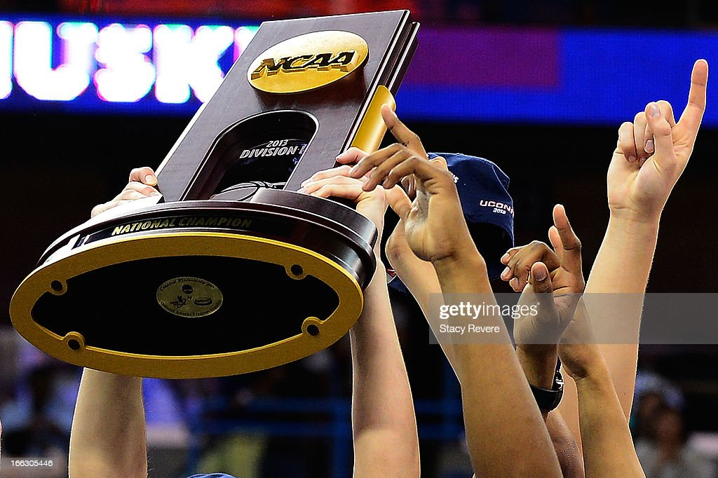Detailed view of the National Champion trophy following the Connecticut Huskies victory over the Louisville Cardinals in the National Final game of the 2013 NCAA Division I Women's Basketball Championship at New Orleans Arena on April 9, 2013 in New Orleans, Louisiana.