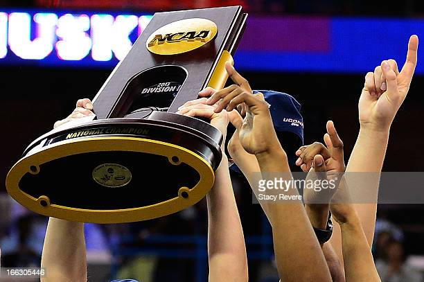 Detailed view of the National Champion trophy following the Connecticut Huskies victory over the Louisville Cardinals in the National Final game of...