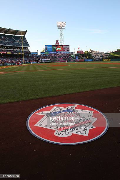 A detailed view of the National League logo on the ondeck circle near the Arizona Diamondbacks dugout is seen prior to the MLB game between the...