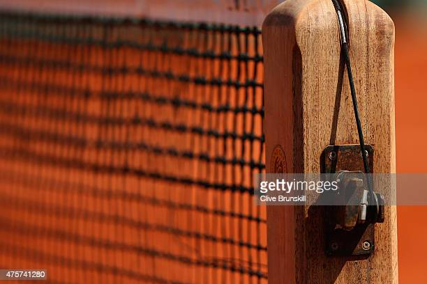 A detailed view of the net on Court Philippe Chatrier on day eleven of the 2015 French Open at Roland Garros on June 3 2015 in Paris France