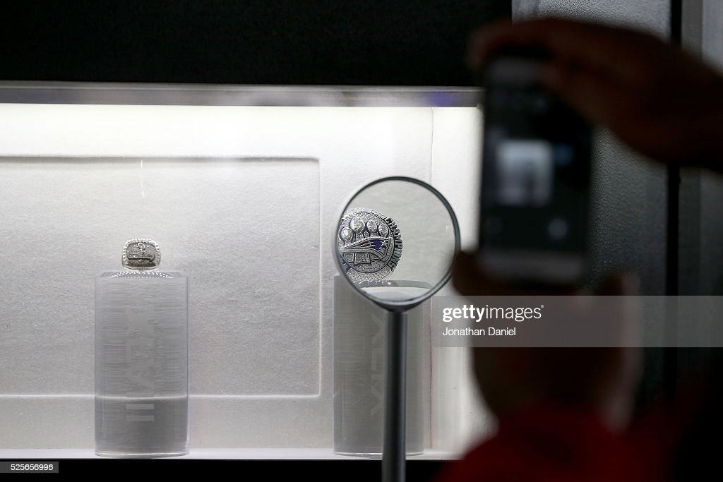 A detailed view of The New England Patriots Super Bowl ring in the Draft Town prior to the 2016 NFL Draft at Grant Park on April 28, 2016 in Chicago, Illinois.