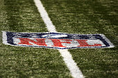 Detailed view of the NFL logo on the field at the MercedesBenz Superdome prior to a game between the New Orleans Saints and the Cincinnati Bengals on...