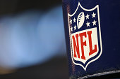 A detailed view of the NFL Logo on the goal post during the preseason game between the Jacksonville Jaguars and the Detroit Lions at Ford Field on...