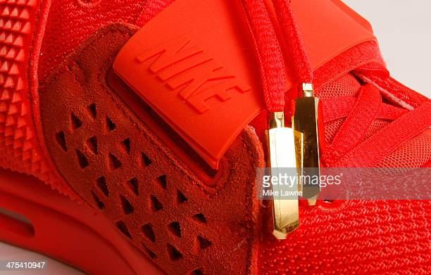 ... a detailed view of the nike air yeezy 2 red october sneaker on february