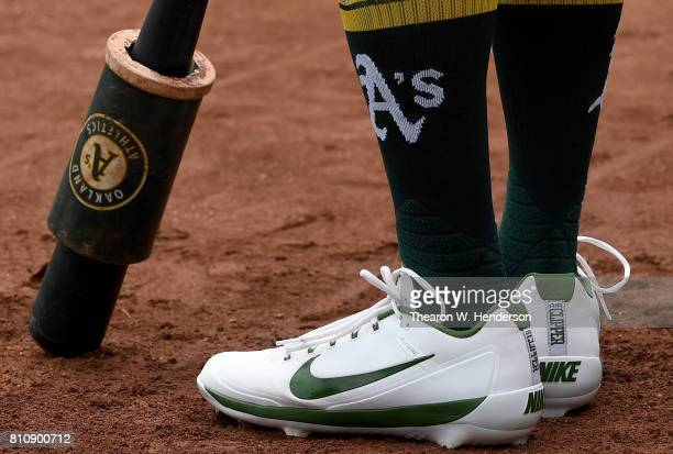 A detailed view of the Nike baseball cleats worn by Khris Davis of the Oakland Athletics against the Chicago White Sox in the bottom of the first...