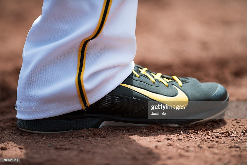 A detailed view of the Nike baseball shoes worn by Jordy Mercer of the Pittsburgh Pirates during the game against the Houston Astros at PNC Park on...