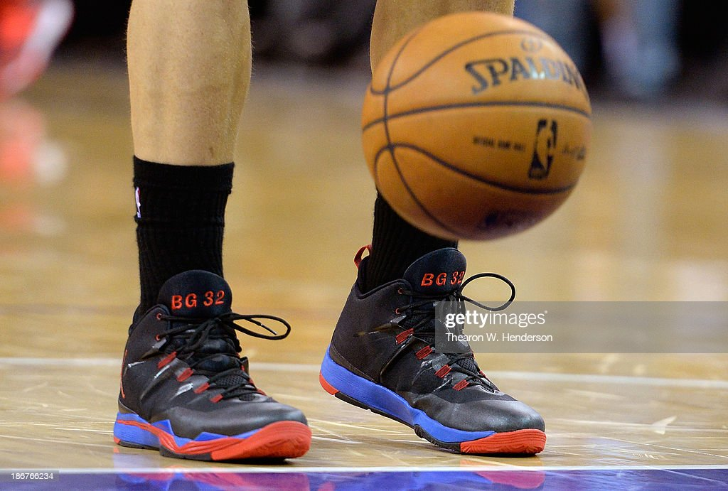 A detailed view of the Nike Jumpman Basketball shoes worn by Blake Griffin #32 of the Los Angeles Clippers against the Sacramento Kings at Sleep Train Arena on November 1, 2013 in Sacramento, California.