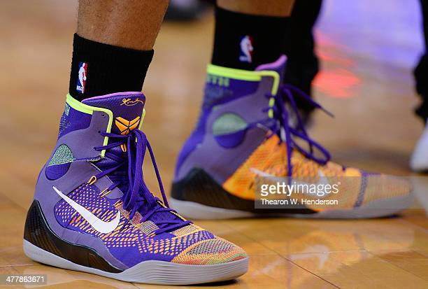 A detailed view of the Nike 'Kobe Elite 9' worn by PJ Tucker of the Phoenix Suns against the Golden State Warriors at ORACLE Arena on March 9 2014 in...