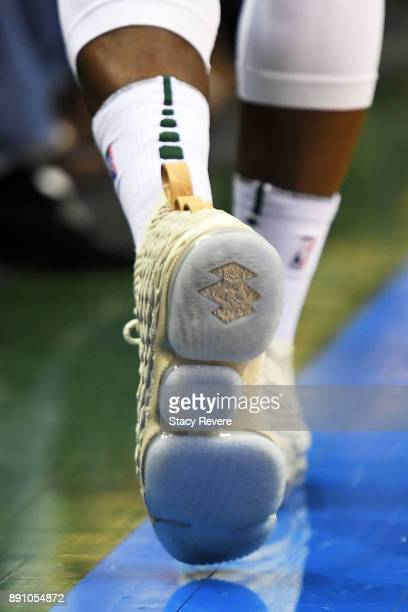 A detailed view of the Nike Lebron 15 'Ghost' sneakers worn by Eric Bledsoe of the Milwaukee Bucks during a game against the Utah Jazz at the Bradley...