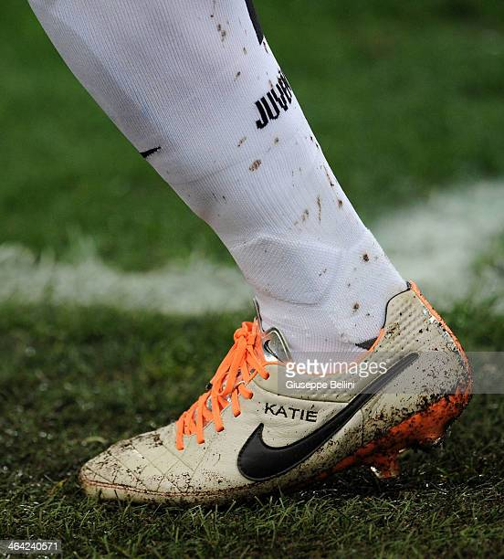 A detailed view of the Nike shoes worn by Carlos Tevez during the TIM Cup match between AS Roma and Juventus FC at Olimpico Stadium on January 21...