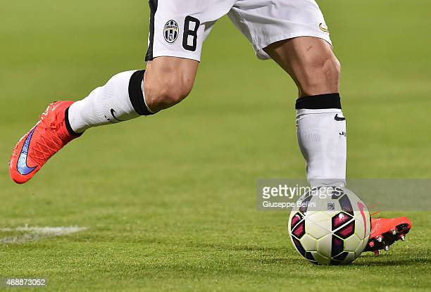 A detailed view of the Nike shoes worn by Claudio Marchisio of Juventus FC during the TIM cup match between ACF Fiorentina and Juventus FC at Artemio...