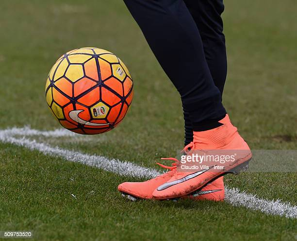 A detailed view of the Nike shoes worn by Eder during the FC Internazionale training session at the club's training ground at Appiano Gentile on...