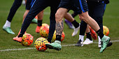 A detailed view of the Nike shoes worn by Mauro Icardi during the FC Internazionale training session at the club's training ground at Appiano Gentile...