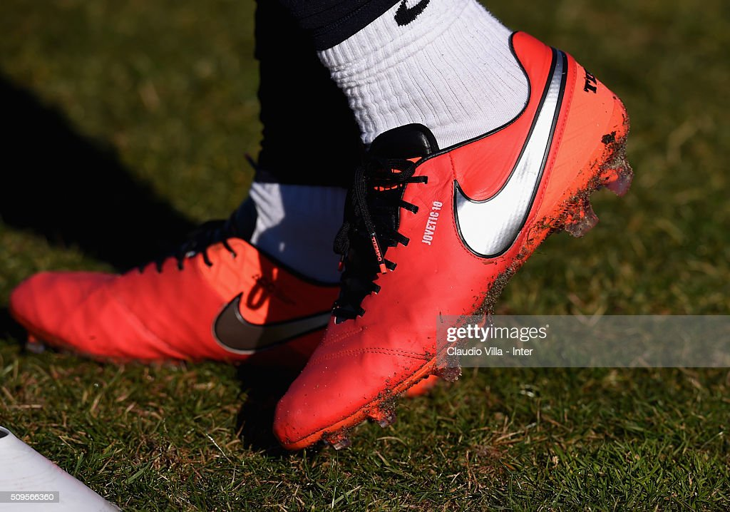 A detailed view of the Nike shoes worn by <a gi-track='captionPersonalityLinkClicked' href=/galleries/search?phrase=Stevan+Jovetic&family=editorial&specificpeople=4538822 ng-click='$event.stopPropagation()'>Stevan Jovetic</a> during the FC Internazionale training session at the club's training ground at Appiano Gentile on February 11, 2016 in Como, Italy.
