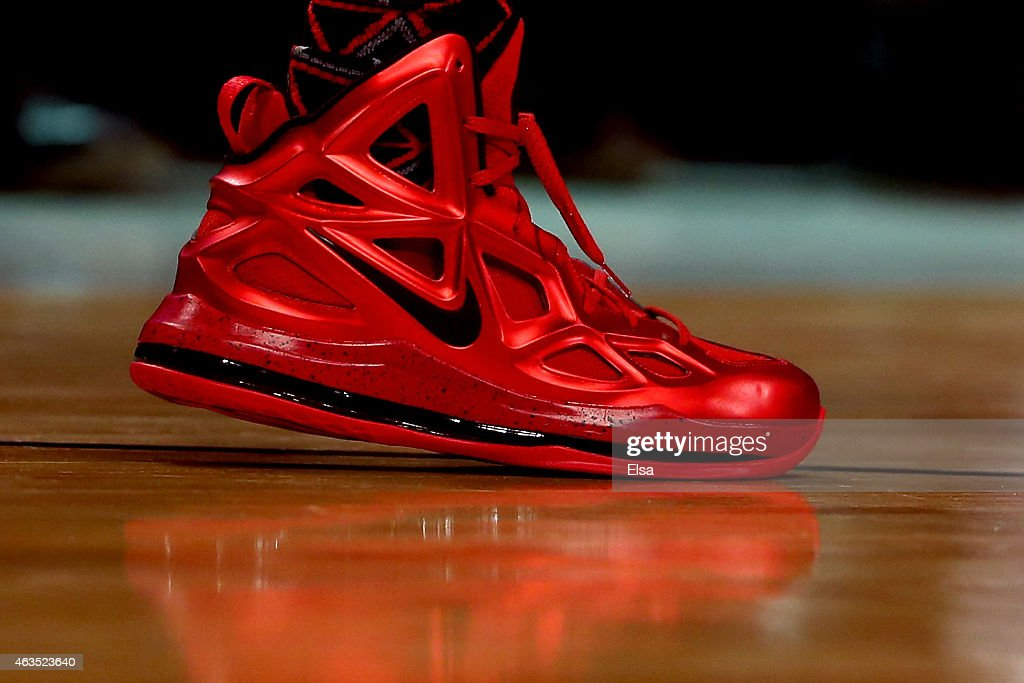 A detailed view of the Nike sneakers of Chris Bosh of the Miami Heat and the Eastern Conference during the Degree Shooting Stars Competition as part...