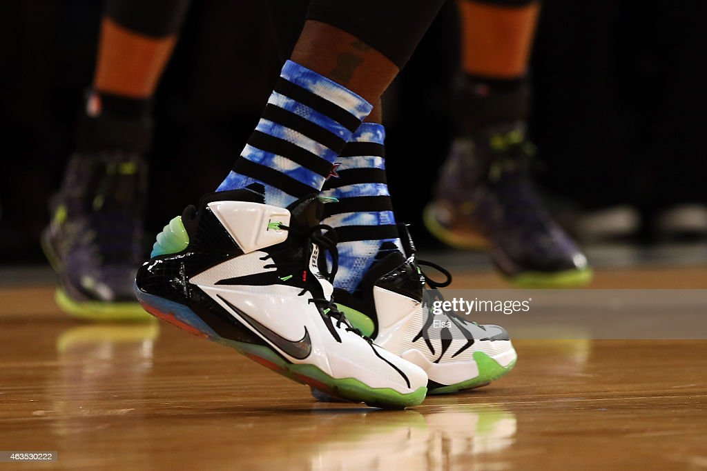 A detailed view of the Nike sneakers of LeBron James of the Cleveland Cavaliers and the Eastern Conference during the 2015 NBA AllStar Game at...