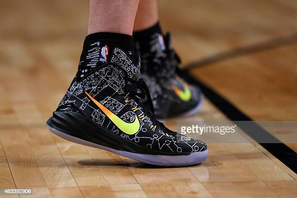 A detailed view of the Nike sneakers of World Team's Kostas Papanikolaou of the Houston Rockets during the BBVA Compass Rising Stars Challenge as...