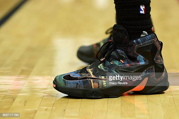 A detailed view of the Nike sneakers worn by LeBron James of the Cleveland Cavaliers during a game against the New Orleans Pelicans at the Smoothie...