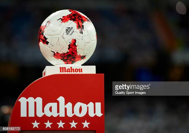 A detailed view of the official match ball prior the Trofeo Santiago Bernabeu match between Real Madrid and ACF Fiorentina at Estadio Santiago...