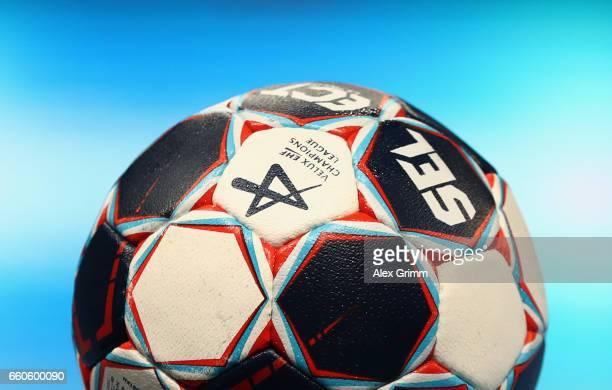 A detailed view of the official match ball prior to the EHF Champions League Quarter Final Leg 2 match between Rhein Neckar Loewen and THW Kiel at...