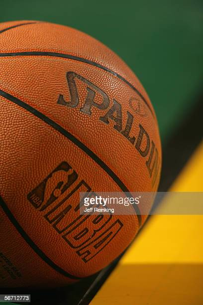 A detailed view of the official NBA ball during the game between the Seattle SuperSonics and the Miami Heat on January 13 2006 at Key Arena in...