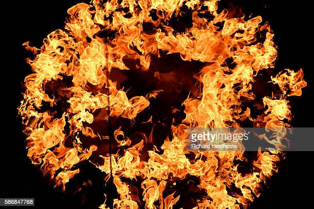A detailed view of the Olympic flame alight in the Cauldron during the Opening Ceremony of the Rio 2016 Olympic Games at Maracana Stadium on August 5...