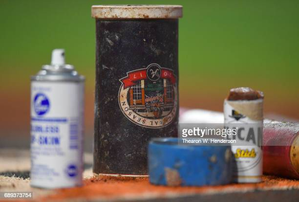 A detailed view of the ondeck circle with the bat wieght and pine tar in it for the Atlanta Braves against the San Francisco Giants at ATT Park on...
