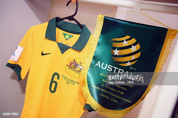 A detailed view of the pendant and the jersey of team captain Joe Caletti in the Australia dressing room prior to the FIFA U17 World Cup Chile 2015...