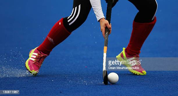 A detailed view of the pitch sticks and ball as The Great Britain womens hockey team train as the London 2012 Olympic Hockey Centre pitch is unveiled...