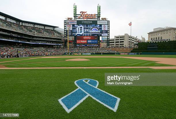 A detailed view of the Prostate Cancer Awareness ribbon logo painted on the field before the Fathers Day Game between the Detroit Tigers and the...