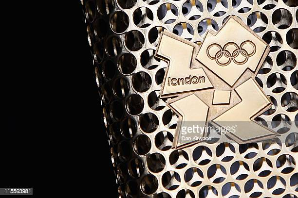 A detailed view of the prototype design of the new golden Olympic torch during its unveiling at St Pancras Station on June 8 2011 in London England...