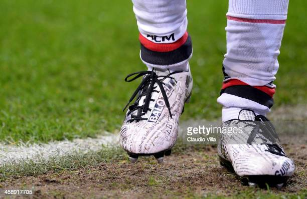 A detailed view of the Puma shoes worn by Mario Balotelli of AC Milan during the Serie A match between FC Internazionale Milano and AC Milan at San...
