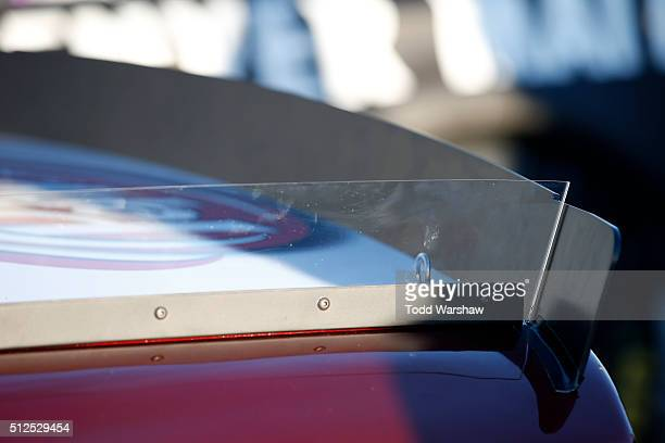 A detailed view of the rear spoiler on the Dr Pepper Toyota driven by David Ragan as it sits on pit road during qualifying for the NASCAR Sprint Cup...