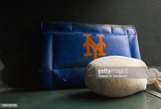 A detailed view of the rosin bag and pine tar rag belonging to the New York Mets sitting in the rack prior to the game against the San Francisco...