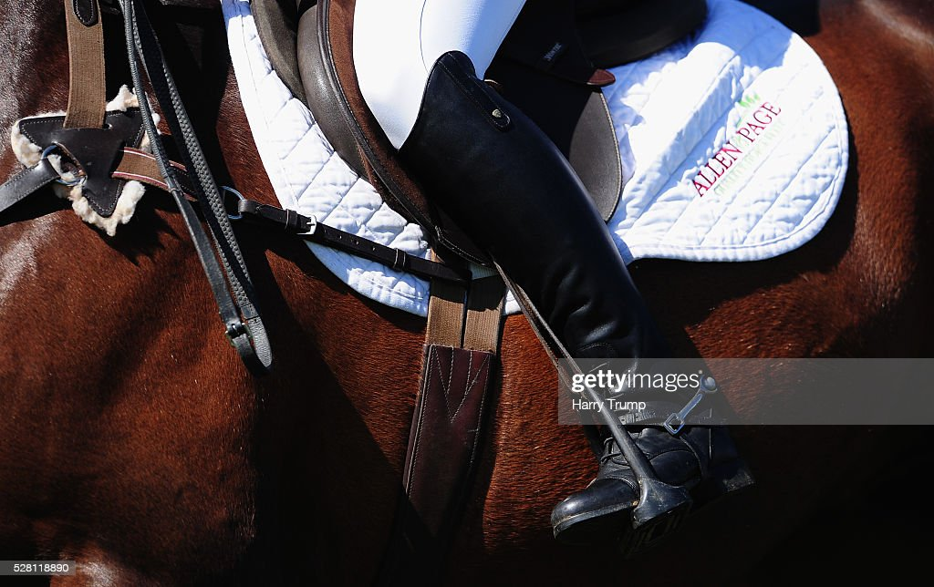 Detailed view of the saddle of a comeptitor during the Mitsubishi Motors Cup Show Jumping during Day One of the Badminton Horse Trials on May 4, 2016 in Badminton, Untied Kindom.